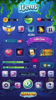 Elementi di formato mobile di illustrazione del mondo di pesce mahjong impostati