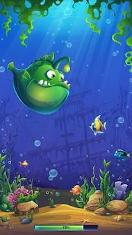 Illustrazione della schermata di caricamento del mondo dei pesci mahjong