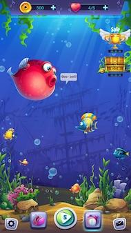 Mahjong fish world campo da gioco sullo sfondo del mondo sottomarino