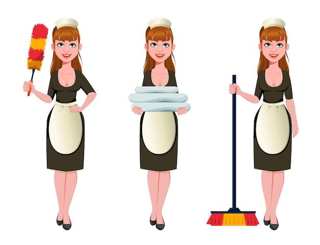 Cameriera, donna delle pulizie, donna delle pulizie sorridente, set di tre pose