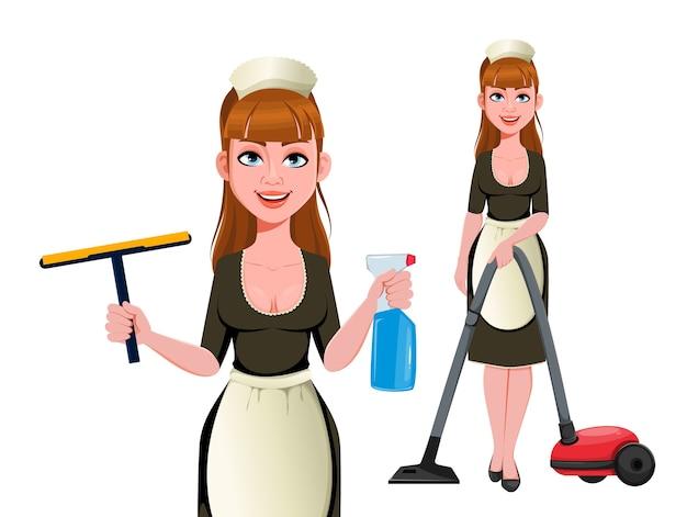 Cameriera, donna delle pulizie, donna delle pulizie sorridente