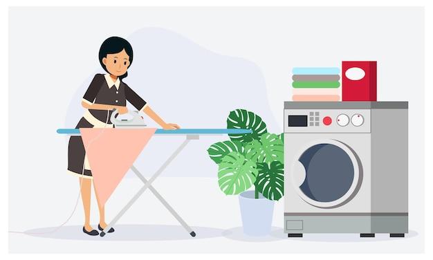 La cameriera sta stirando i vestiti. concetto di lavoro domestico, illustrazione del personaggio dei cartoni animati di vettore piatto.