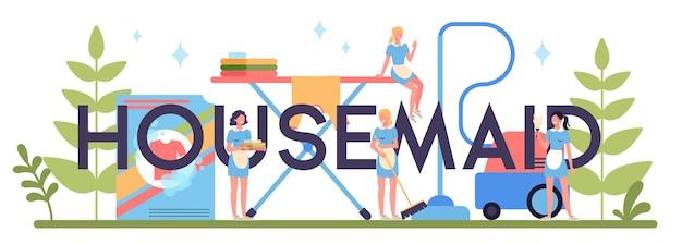 Servizio di pulizia, servizio di pulizia, concetto di intestazione tipografica pulizia appartamento. donna in una casa o un hotel di pulizia uniforme classica.