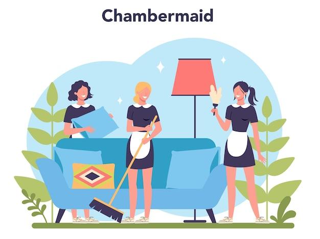 Servizio di pulizia, servizio di pulizia, pulizia appartamento. donna in una casa o un hotel di pulizia uniforme classica.