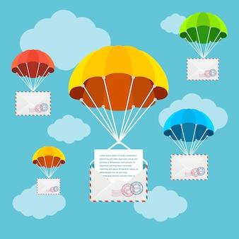 Paracadute di consegna di posta o posta aerea in cielo. concetto di illustrazione vettoriale di corrispondenza veloce