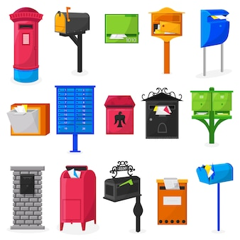 Designe moderno della cassetta postale della posta o insieme dell'illustrazione del letterbox della posta postale delle cassette postali per le lettere spedite consegna isolate su fondo bianco