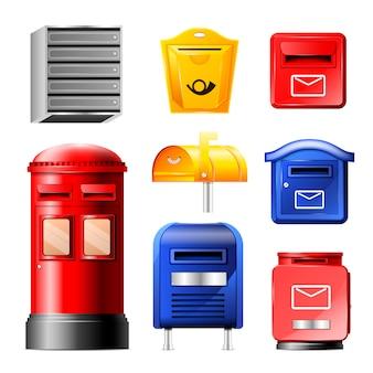 Insieme dell'illustrazione della cassetta delle lettere della posta della posta o dell'invio postale delle cassette postali per le lettere spedite posta in busta isolata su fondo bianco