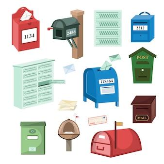 Insieme dell'illustrazione della cassetta delle lettere della posta della posta o dell'invio postale delle cassette postali per le lettere spedite posta isolate su fondo bianco