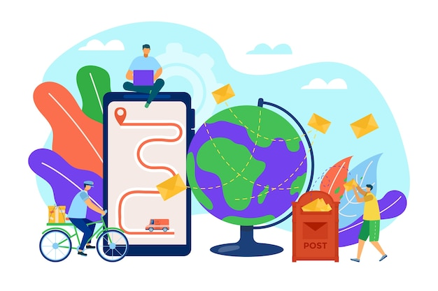 Concetto di posta, messaggi, lettere e comunicazione per posta o internet, illustrazione di lettere di invio. e-mail di marketing. cassetta postale e buste. contatti, corrispondenza e mailing.