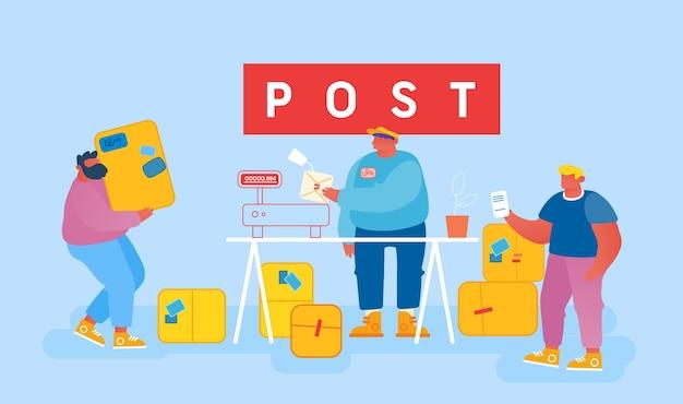 Servizio di consegna della posta, affrancatura, clienti alla posta.