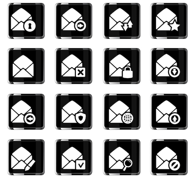Set di icone di posta e buste per siti web e interfaccia utente