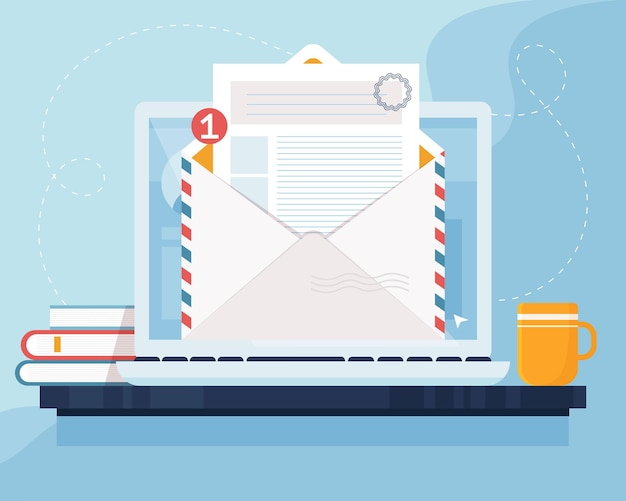 Concetto di marketing di posta. computer portatile con busta e documento sullo schermo. e-mail, email marketing, concetto di pubblicità su internet. illustrazione in stile piatto