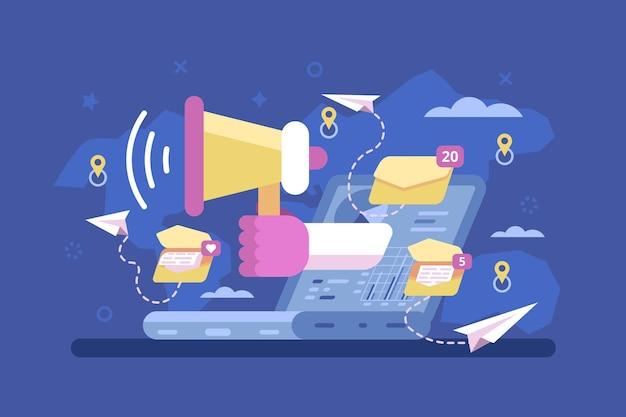 Campagna di promozione della strategia di marketing per posta