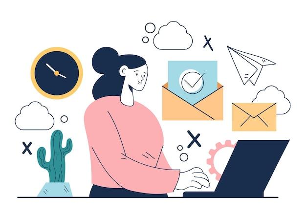 Concetto piano dell'illustrazione dell'estratto di progettazione grafica del fumetto di servizio di posta