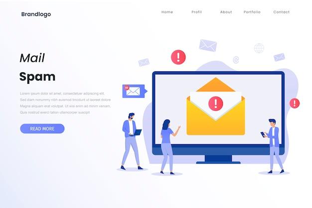 Pagina di destinazione del concetto di illustrazione di spam della posta
