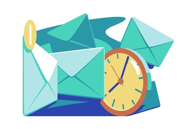 Tempi di posta e illustrazione vettoriale di marketing il sovraccarico di e-mail riduce l'efficienza e la produttività nel concetto di gestione del tempo di corrispondenza di scadenza di stile piatto di lavoro isolato