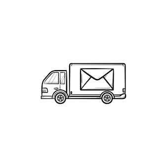 Furgone di posta con busta su di esso icona di doodle di contorni disegnati a mano. consegna di lettere e pacchi, concetto di camion postale Vettore Premium