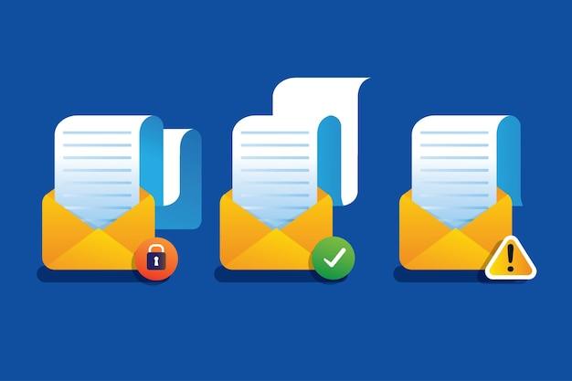 Raccolta di notifiche di avviso di posta sicura della serratura della privacy con carta pieghevole
