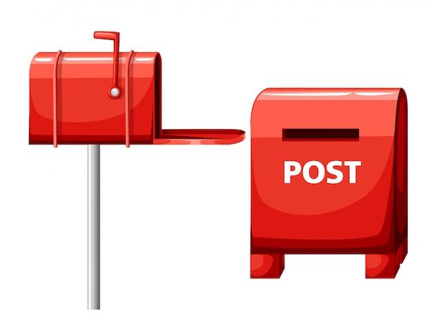 Illustrazione della cassetta postale su bianco, casella postale, icona rossa del fumetto della casella di posta nella pagina del sito web e app mobile
