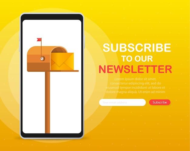 Cassetta postale con una lettera all'interno in uno stile piatto sul dispositivo dello schermo su uno sfondo giallo. iscriviti alla nostra newsletter.