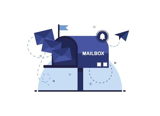 Cassetta postale con lettere in una busta come ricezione o invio di lettere tramite consegna della posta. blu