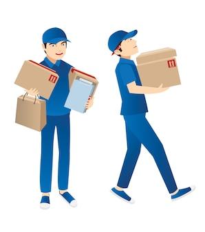 Un postino che consegna il pacco al cliente