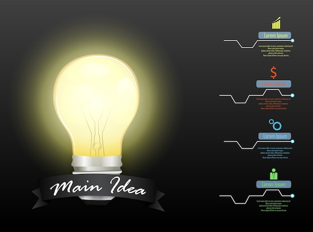 Concetto di idea principale con lampadina e 4 opzioni di passaggi