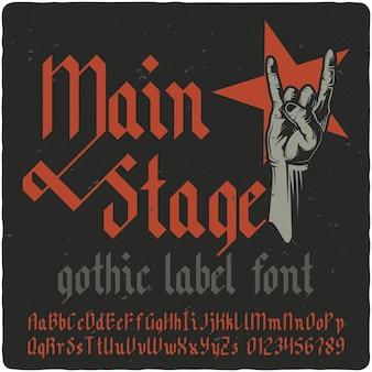 Carattere tipografico etichetta main stage