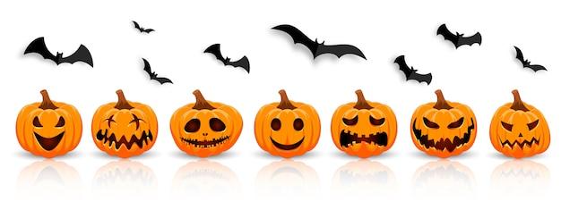 Il simbolo principale della vacanza happy halloween. zucca arancione con sorriso per la tua festa di halloween.