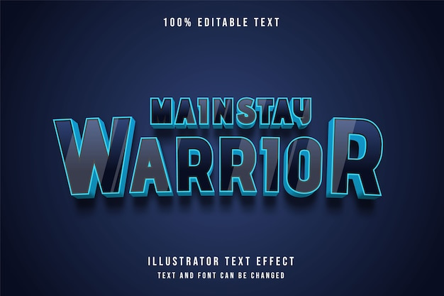 Mainstay warrior, 3d testo modificabile effetto nero gradazione blu stile moderno