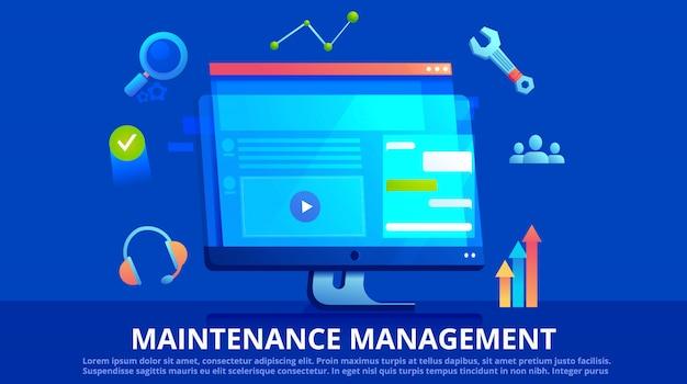 Banner di gestione della manutenzione. una schermata con sito web e icona con strumenti.