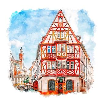 Illustrazione disegnata a mano di schizzo dell'acquerello di mainz germania