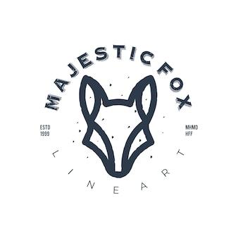 Modello di logo animale testa d'epoca arte linea maestosa volpe