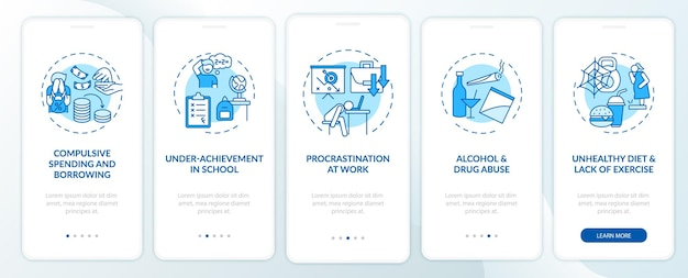 Principali problemi di autocontrollo schermata della pagina dell'app mobile onboarding blu con concetti