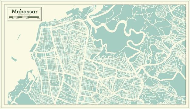 Mappa della città di makassar indonesia in stile retrò. mappa di contorno. illustrazione di vettore.