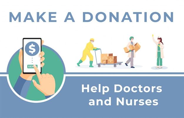Fai una donazione per aiutare il modello di banner di medici e infermieri. aiuto umanitario durante il coronavirus.