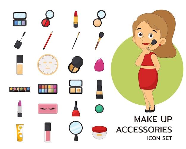 Icone piane di concetto di accessori per il trucco