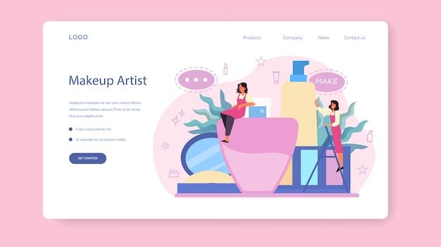 Make up artist concept web landing page. donna che fa una procedura di bellezza, applicando cosmetici sul viso. visagiste truccata. illustrazione vettoriale isolato in stile cartone animato