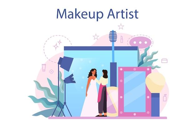Compongono il concetto di artista. donna che fa una procedura di bellezza, applicando