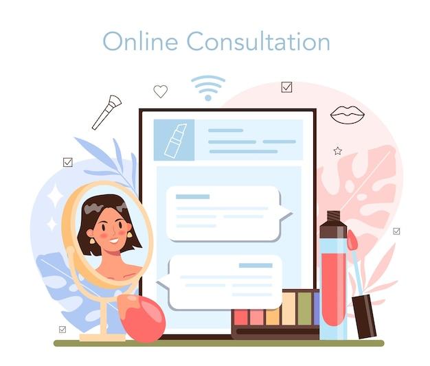 Servizio o piattaforma online di make up artist. visagiste facendo una procedura di bellezza, applicando cosmetici sul viso. consultazione in linea. illustrazione vettoriale piatta