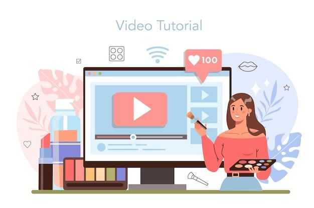 Servizio o piattaforma online di make up artist. visagiste facendo una procedura di bellezza, applicando cosmetici sul viso. videotutorial. illustrazione vettoriale piatta