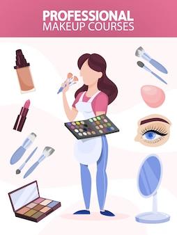 Make up artist in piedi e tenendo la tavolozza e cosmetici