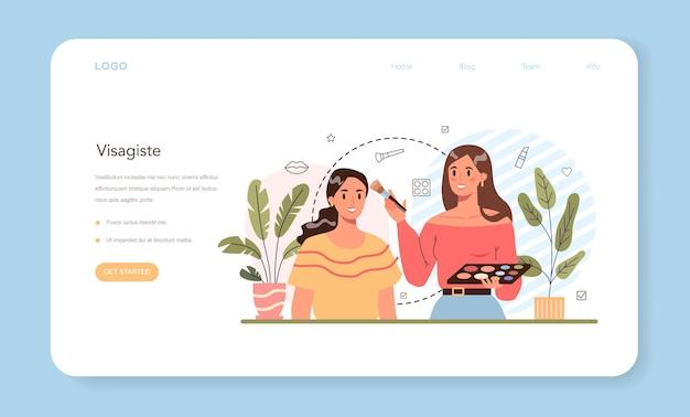 Banner web o pagina di destinazione del make up artist. artista professionista