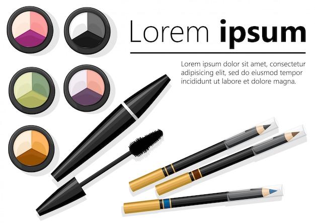 Componga il concetto. palette di ombretti, matita per sopracciglia, mascara. illustrazione con posto per il testo su sfondo bianco. pagina del sito web e app mobile