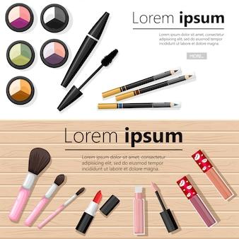 Componga il concetto. palette di ombretti, matita per sopracciglia, mascara, rossetto e pennelli. illustrazione con posto per il testo su sfondo bianco e legno