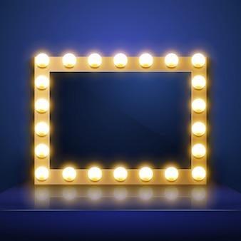 Trucco specchio con luce. camerino dell'artista. specchio per il trucco