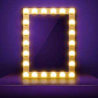 Specchio per il trucco con la luce. spogliatoio dell'artista di vettore. specchio per il trucco.