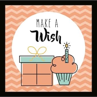 Fai un augurio di auguri per la torta e la celebrazione del regalo