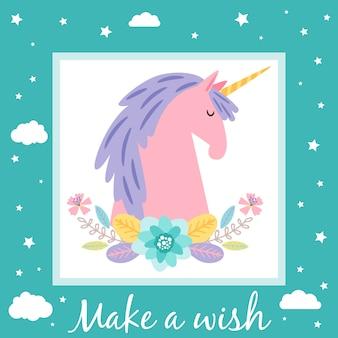 Crea un modello di carta dei desideri con unicorno e stelle carini