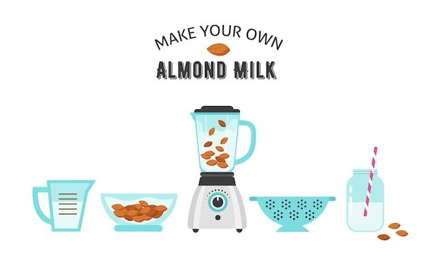 Prepara il tuo latte di mandorle, illustrazione